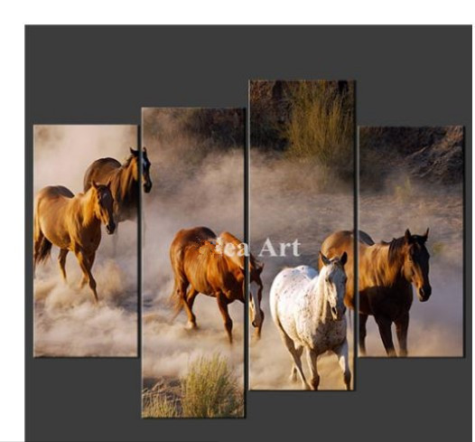 4 Piece Wall Art Painting On Canvas The Picture Of Horses Cascade Pictures For Home Modern Decoration Oil Painting(China (Mainland))
