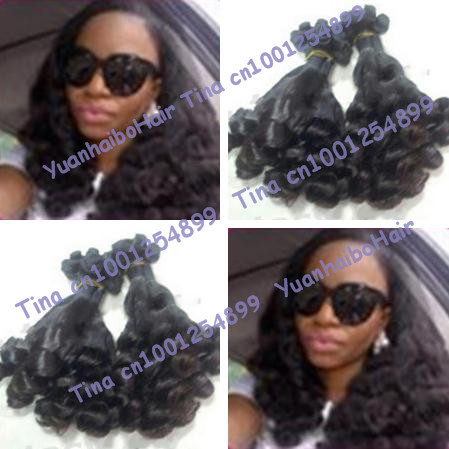Grade 6A quality 3pcs/lot #1b funmi bouncy curl virgin peruvian funmi hair weft for black women free shipping<br><br>Aliexpress