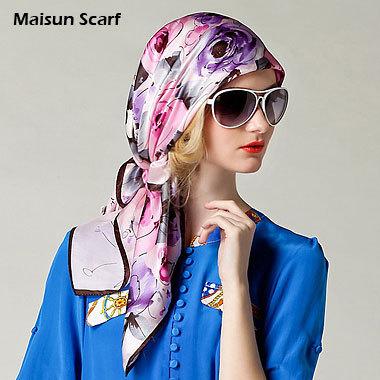 100% Silk Crep square sce Satin Plain Large Square Scarves 12mm 90 x 90cm silkarf(China (Mainland))
