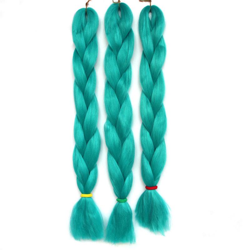 "5pcs/lot! Braiding Hair cyan single color High Temperature Fiber braiding hair 24"" 100g/pcs synthetic braiding hair Extensions"