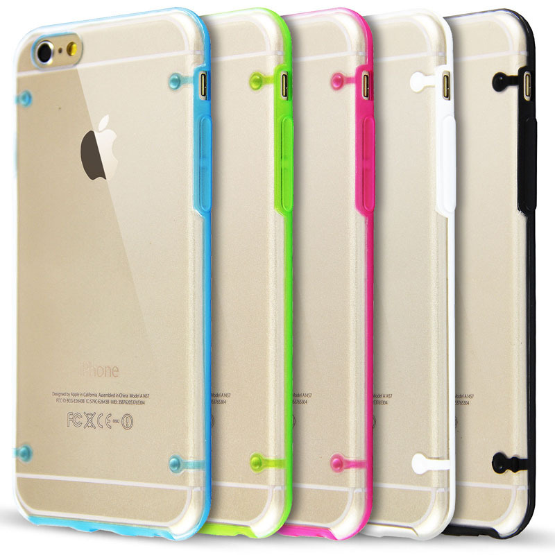 Contrast Colors Clear Back Cover Soft Tpu Case For Apple iPhone 6 6s Protective Phone Cases Back Cover Skin Shell Wholesale(China (Mainland))