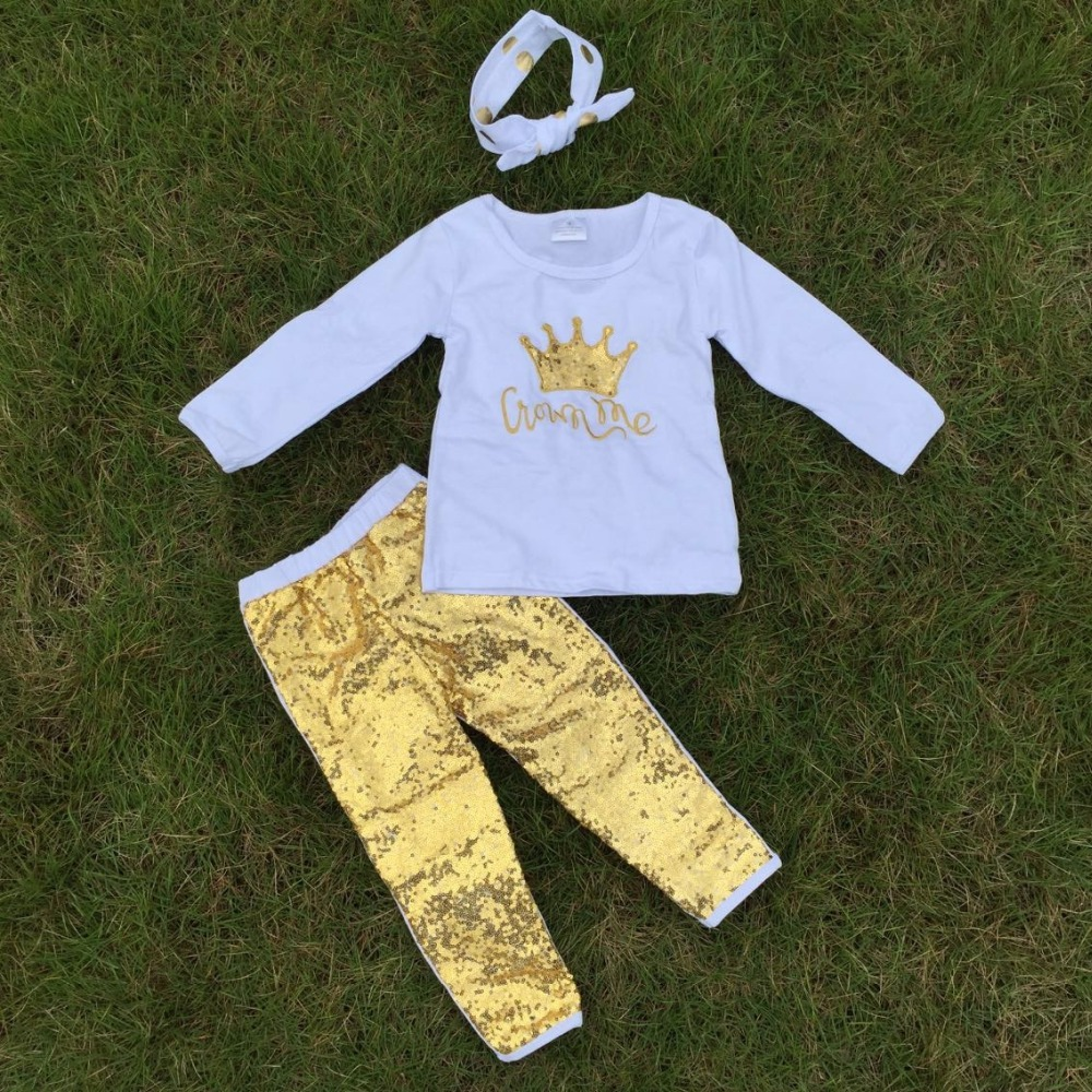 2-7t FALL/Winter kids OUTFITS crown gold sequins pant sets girls hot sell cute clothes kids with matching headband set(China (Mainland))