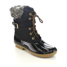 Women's Faux Leather/Faux Fur Two Tone Buckle Strap Combat Style Ankle Rain Duck Snow Boots One Size Small(China (Mainland))