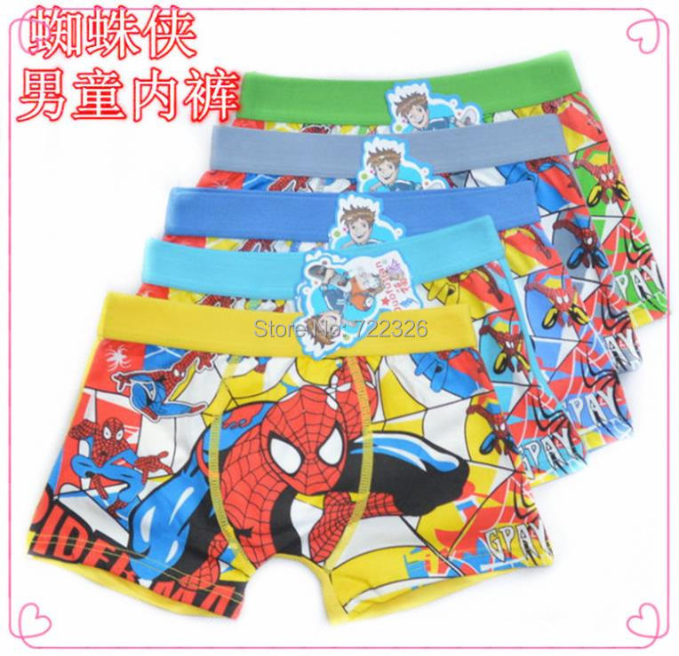 Free shipping 6 pcs/lot Children's cotton underwear Spiderman boys underwear cartoon boy boxersctnm0006(China (Mainland))