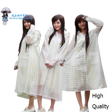 2015 fashion Rainwear 2015 New transparent EVA long raincoat women ponchos female rain coat waterproof travel trench thick yello(China (Mainland))