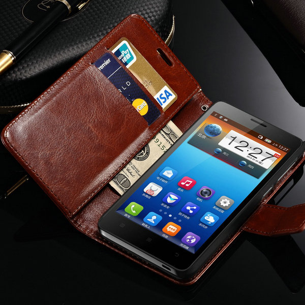 Luxury Retro Book Stand PU Leather Case for Lenovo S660 Stand Design Flip Cover Case with Card Slot(China (Mainland))