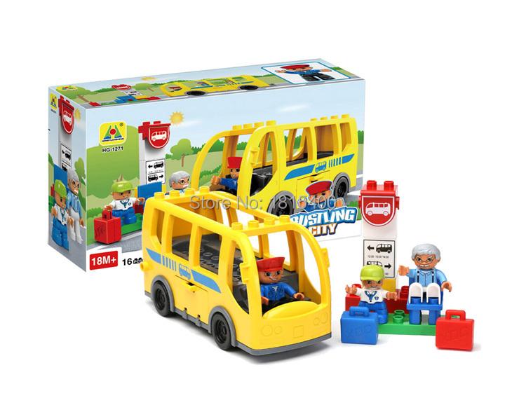 16pcs/set Educational Kids DIY Toy City Bus Lego Compatible Assembling Plastic Building Blocks Bricks Particle & Mini Figures(China (Mainland))