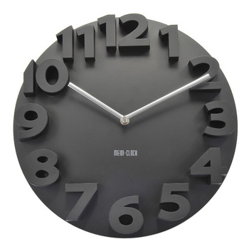 3D Big Digit Modern Contemporary Kitchen Office Home Decor Round Wall Clock BLK
