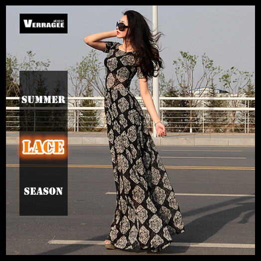 Women summer long casual dress 2015 lace maxi dresses new fashion short sleeve floor-length slim vintage full vestidos - Nogobadway store