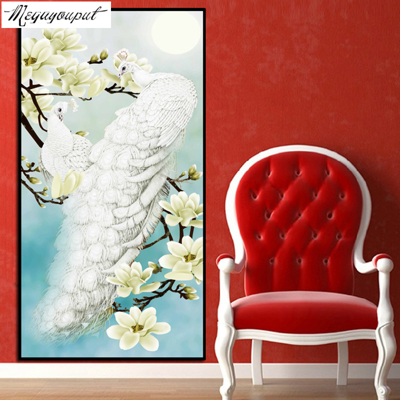 5D diamond embroidery Diy Diamond painting round resin cross stitch Magnolia flower and white peacock home Decoration GIFT(China (Mainland))