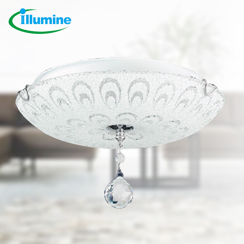 ILLUMINE 2*3W LED E14 light bulbs modern crystal surface mounted Led ceiling light for bedroom peafowl shade(China (Mainland))
