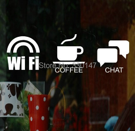 New Arrial 3 of WIFI COFFEE CHAT 10cm Logo Service Sign Stickers Acrylic Plastic Mirror Wall Decor for Hotel Store Glass Window(China (Mainland))