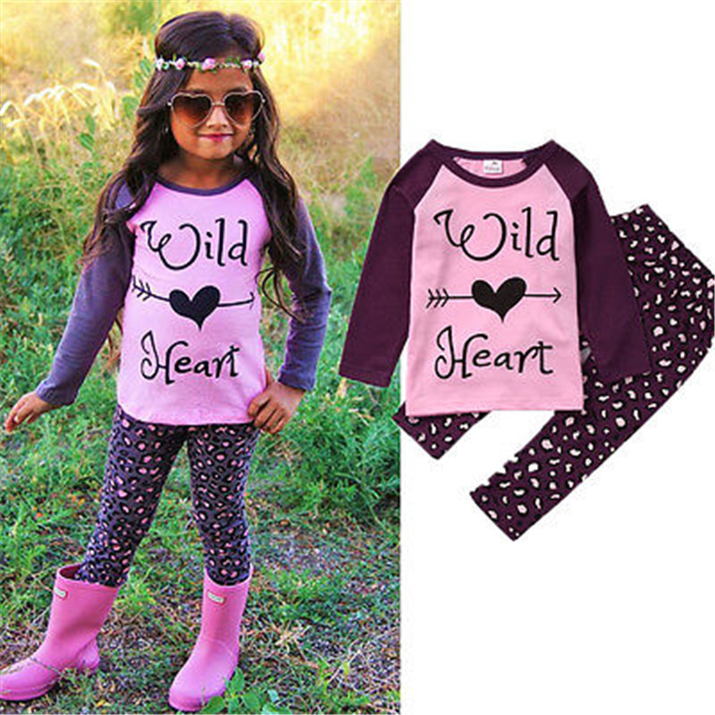 2PCS Kids Baby Toddler Girls Clothes Set Letter Heart Long Sleeve Purple T-shirt Tops +Leopard Pants Leggings Outfits Clothing(China (Mainland))