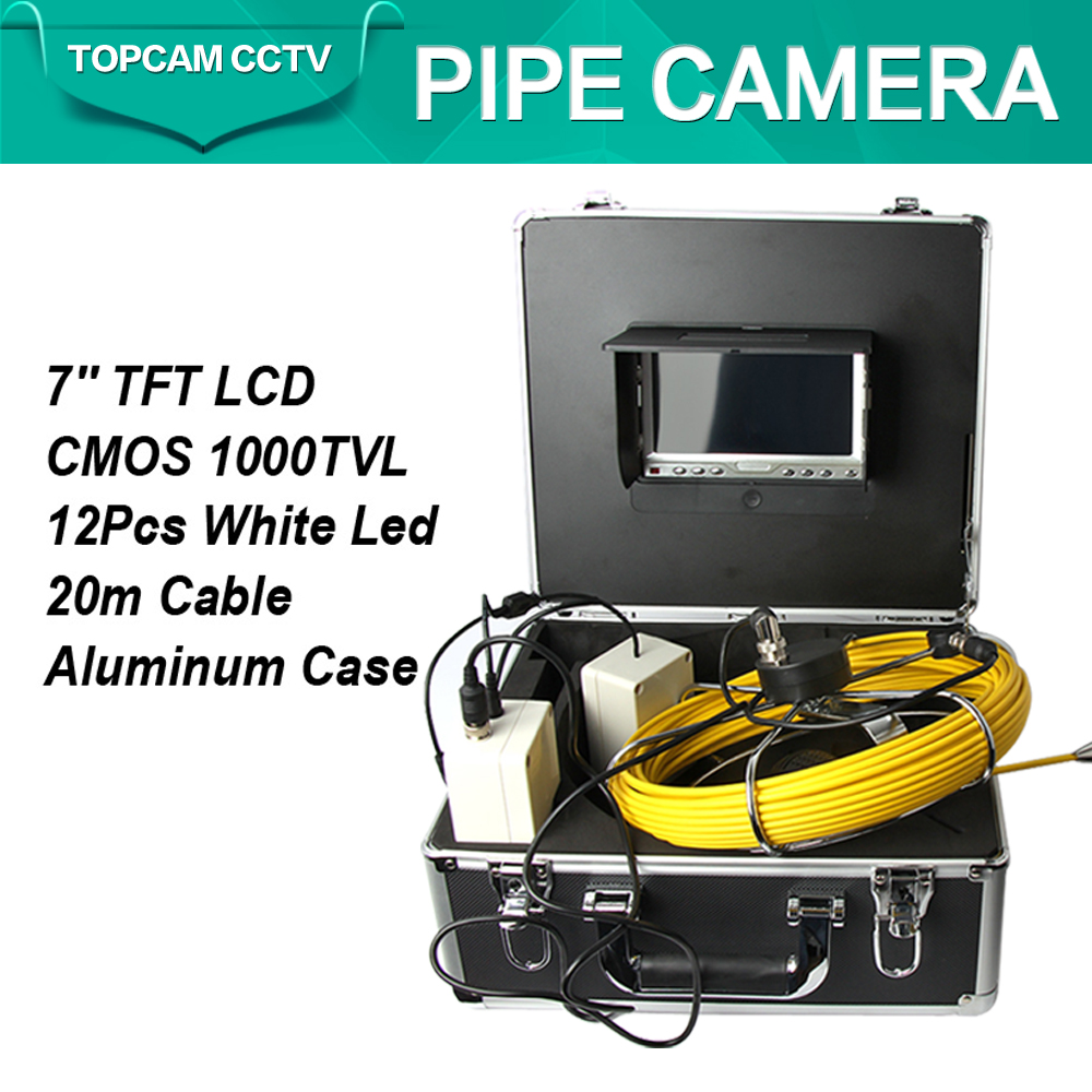 20M Cable Waterproof Sewer Pipe Inspection Camera System Industrial Video Snake Endoscope Pipe Borescope Camera White Lights(China (Mainland))