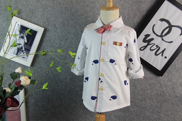 2016 Spring New Blue Whale Boy's Shirts Kids White Long Sleeve Dress Shirt Boy Children Cotton Shirt With 3d Bow-tie(China (Mainland))