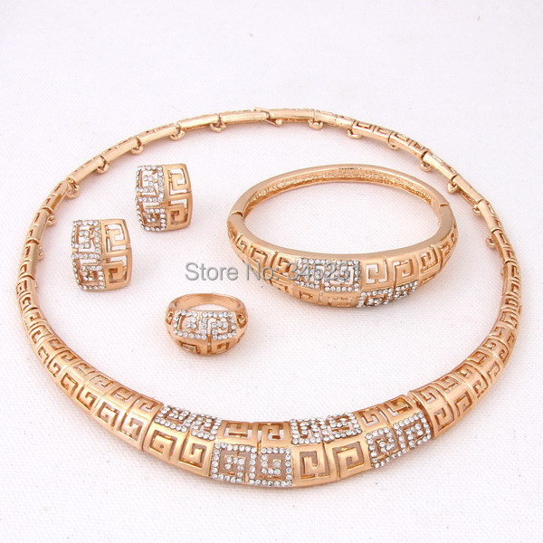 2014 new fashion Hot sale Dubai vintage luxury crystal wedding bridal african beads costume gold plated jewelry sets for women(China (Mainland))