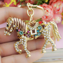 Multicolor Crystal Horse Rhinestone Metal Bag Pendant Key Holder Keyring Keychain For Car K181(China (Mainland))