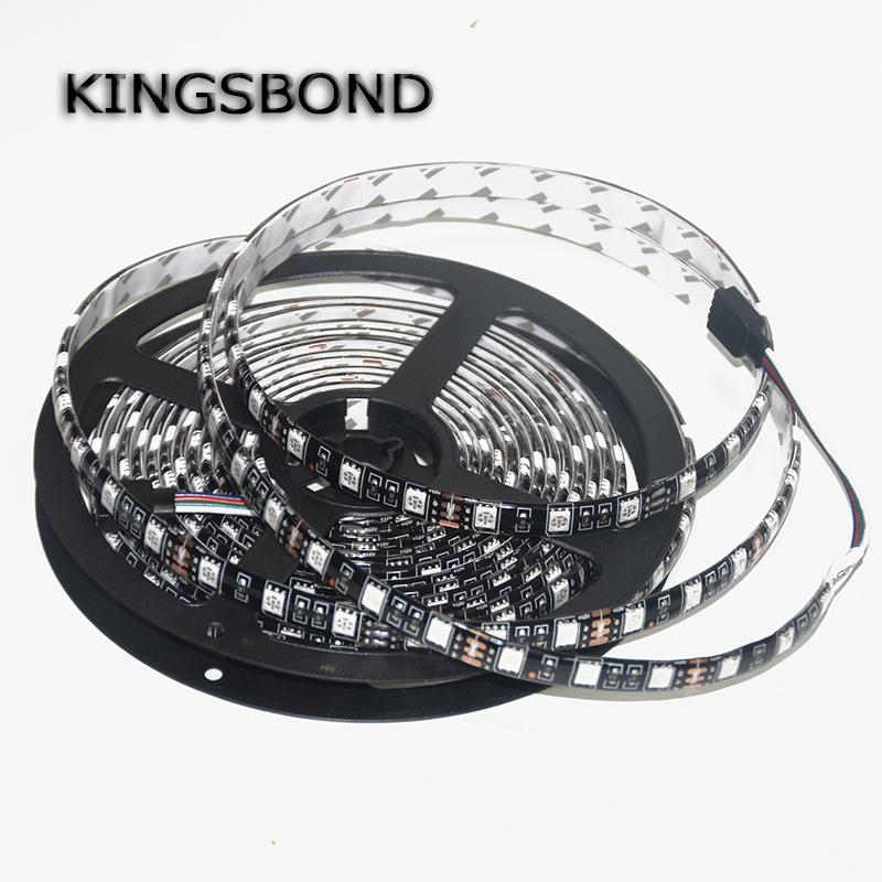 RGB 5050 Black PCB Board LED Strip DC12V 60LED/M 5M/Roll IP65 Waterproof Lamp Flexible light flexible ribbon 5 meters(China (Mainland))