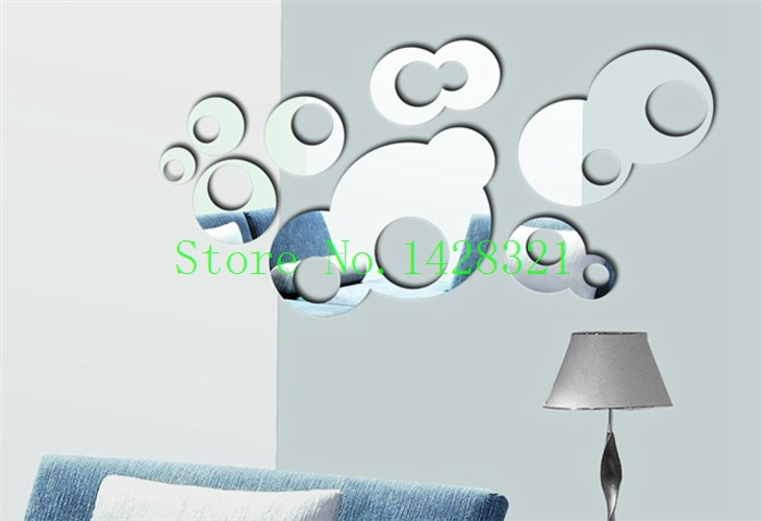 Free shipping 65x33cm (25x13in) round mirror on the wall interior home decoration sticker adhesive posters(China (Mainland))