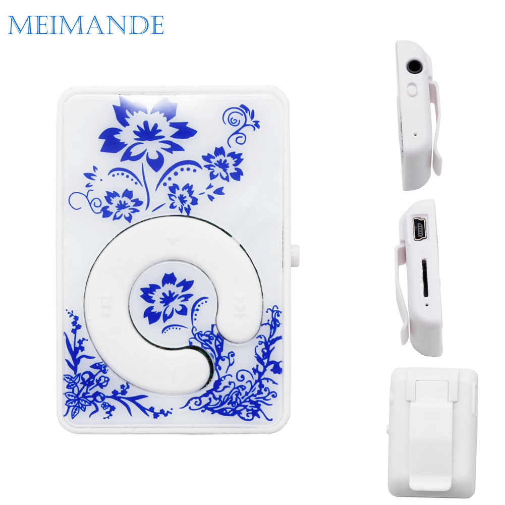 Mini Mirror blue-and-white MP3 Clip Plugin Card Smart Music Player Portable Sports Leisure Perfect Sound MP3 Player Memory Play(China (Mainland))