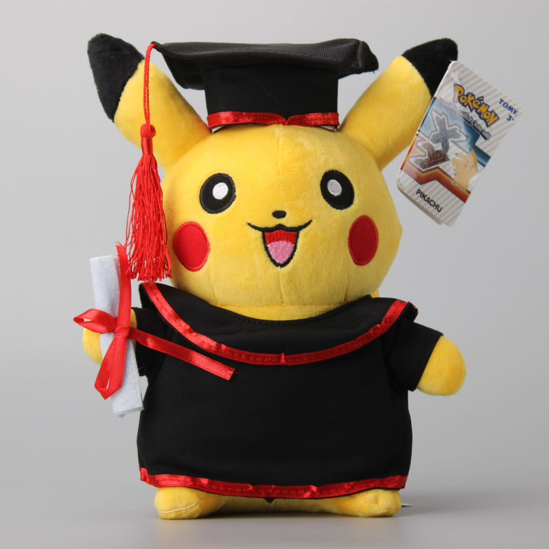 NEW Pikachu Cosplay Stuffed Dolls Cute Rilakkuma Graduate Fitting Gift Plush Toys Graduating Present TY0065(China (Mainland))
