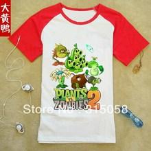 Plants vs . zoombies 100% short-sleeve cotton t-shirt plants vs zombies child clothes parent-child clothing  Children's clothes