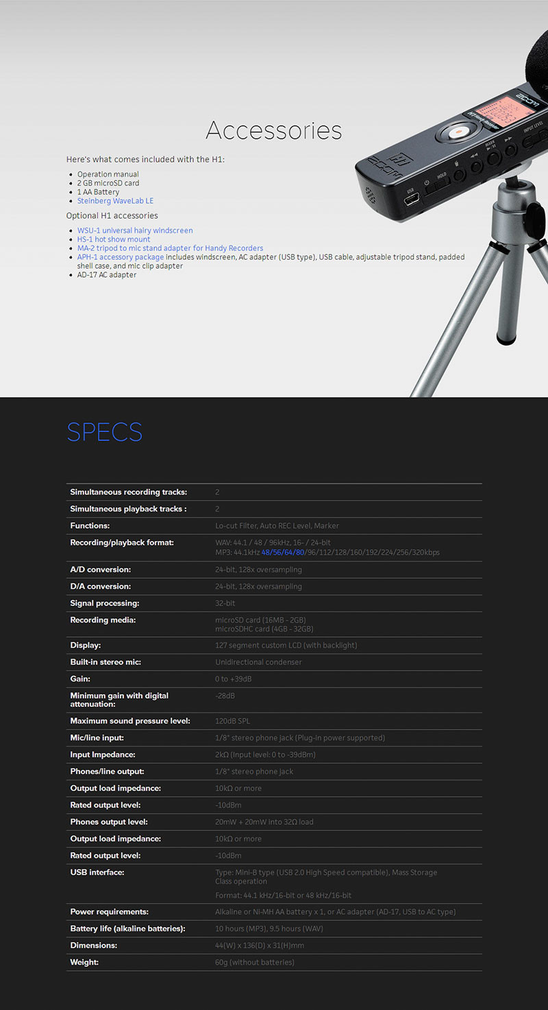 Wholesale Original New Zoom H1 Protable Handheld Digital Voice Aph 1 Accessory Package For Black White And Red Color Are Available When You Make Order Please Leave A Message In The To Tell Us Which Choose