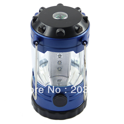 Free Shipping 12 LED Bivouac Camping Hiking Fishing Tent Lantern Light Lamp With Compass Blue For Beauty Tool