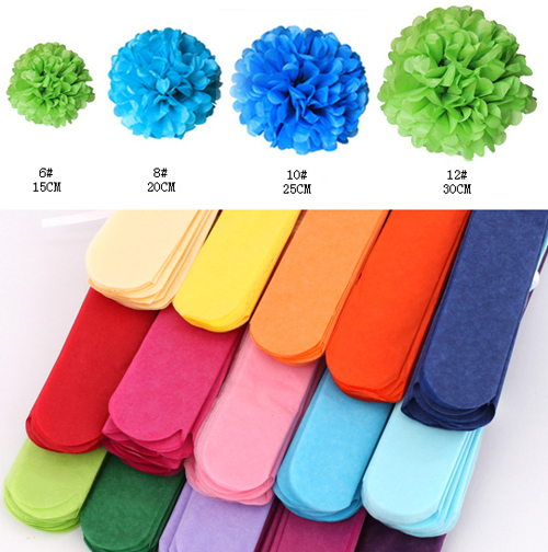 "Unique! Coral Color 50pcs (4"" 6"") Mixed Sizes Tissue Paper Pom Poms Flower Balls Hanging Decoration Party Birthday Wedding(China (Mainland))"