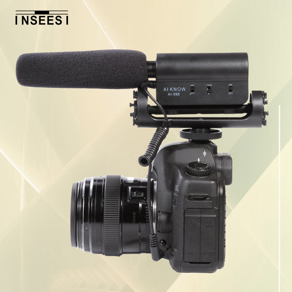 Aikonw Ai-598 Photography Shotgun Condenser Interview MIC Microphone for Nikon <font><b>Canon</b></font> <font><b>DSLR</b></font> Camera Recording Video DV