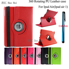 Case for iPad Air Slim 360 Degree Rotating Matte Litchi PU Leather Multi-Angle Stand Cover Fundas for iPad Air iPad 5 + Stylus(China (Mainland))
