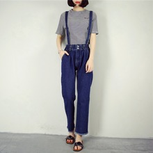 2016 Casual Jeans Salopette Women Suspender Jeans Straight Overall High Waist Pocket Denim Strap Trousers Jumpsuits Size SML