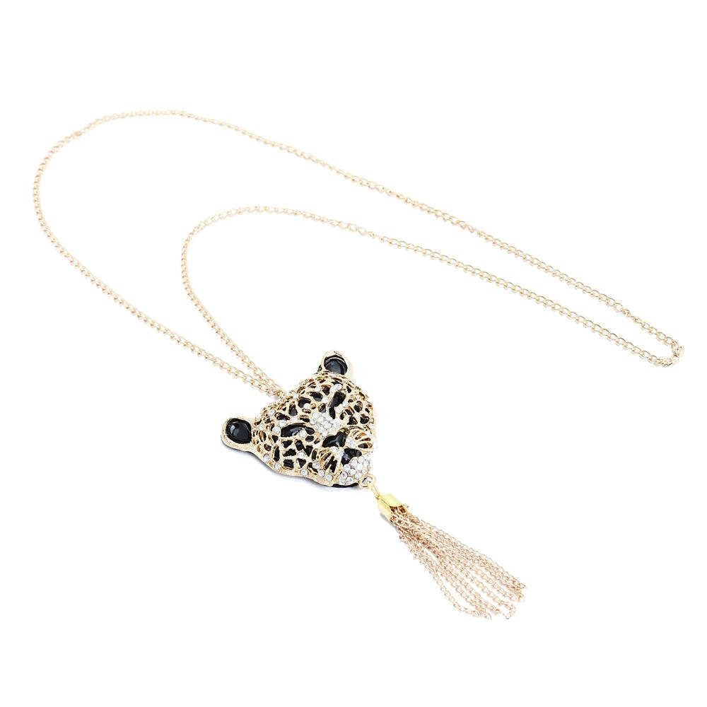 New Queen! Hollow-out Rhinestone Tiger Head Tassel Pendant Long Necklace Alloy(China (Mainland))