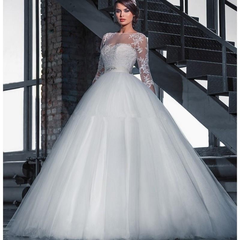 Vestido de noiva Illusion Neck Ball Gown Wedding Dresses Sleeves Princess Wedding Gowns vestido de casamento wedding dress(China (Mainland))