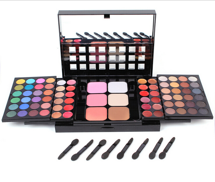 2015 New Professional Makeup Set Pro 78 Full Color Eyeshadow Lip Gloss Blusher Concealer Palette Kit Eye Shadow Cosmetics(China (Mainland))