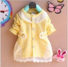 Free shipping 2015 Hot sell baby dress New Casual Girls Top Kid Lace Bow Princess Long Sleeve Dress 3M-2Y Clothes(China (Mainland))