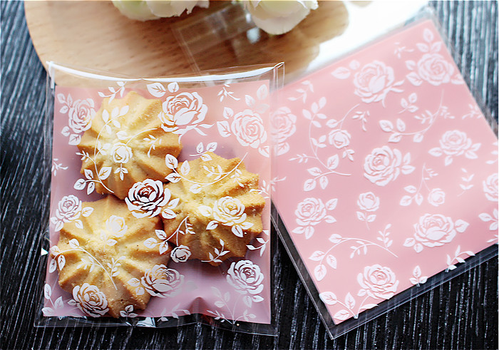 100pcs 8x8+3cm Pink Rose Flower Bakery Cookie Candy Sweet Biscuit Gift Soap OPP Plastic Bag kids Birthday Wedding Decorations(China (Mainland))