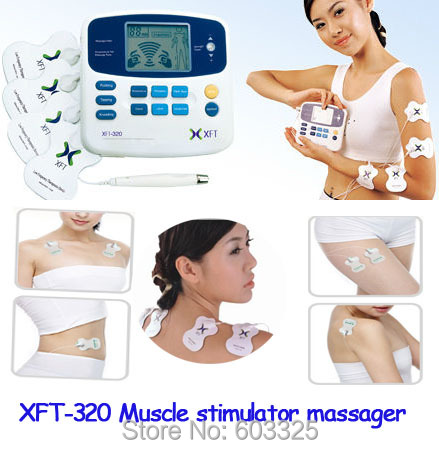 XFT-320 LCD DUAL Tens Device Therapy Machine Digital Body Massager Acupuncture Cupping Medical Treatment Muscle Stimulator(China (Mainland))