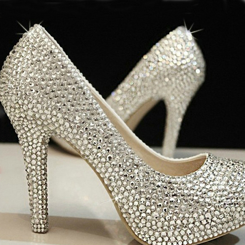 Free Shipping wedding shoes crystal shoes women high heels rhinestone high heel shoes platform pumps 4 Inches Party prom heels(China (Mainland))