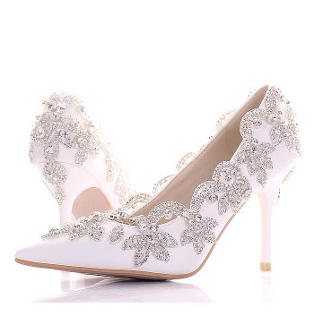 The New 2105 Wedding Shoes White Photography Point Single Shoes Bride Dress Shoes Diamond