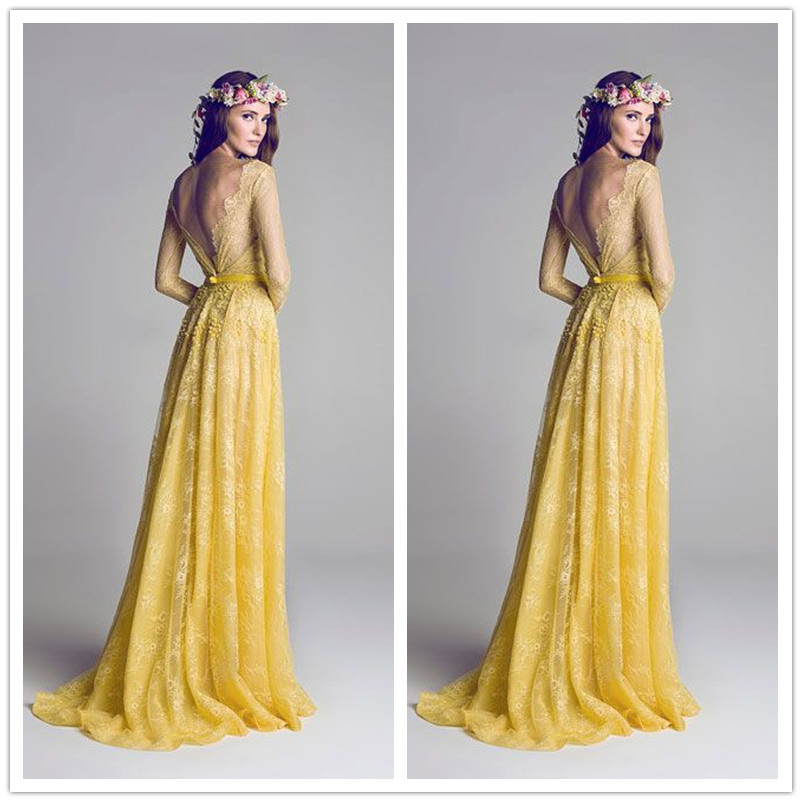 Long Sleeve Prom Dresses Fast Shipping Yellow Lace O Neck Backless A Line Plus Size Prom Dress vestido de festa abendkleider(China (Mainland))