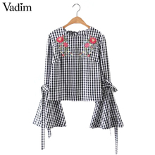 Buy Women sweet flower embroidery flare sleeve shirt long sleeve tie plaid blouse o neck ladies brand tops blusas LT1577 for $10.43 in AliExpress store