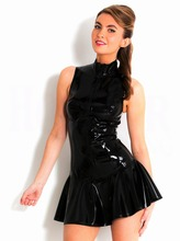 Buy Women Sexy Fetish PVC Wetlook Clubwear Gothic Dress Front Zipper Leather Mni Dress Sexy Clothes sexy Leather Costume