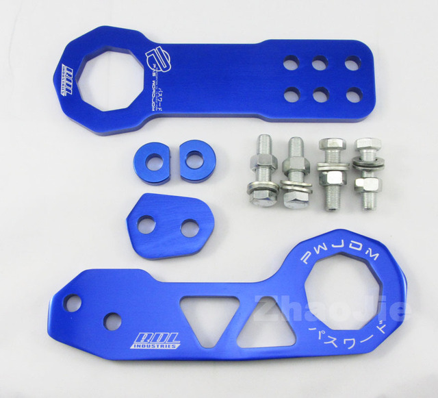 Front + Rear Racing Tow Towing Hook Trailer Password JDM Universal blue