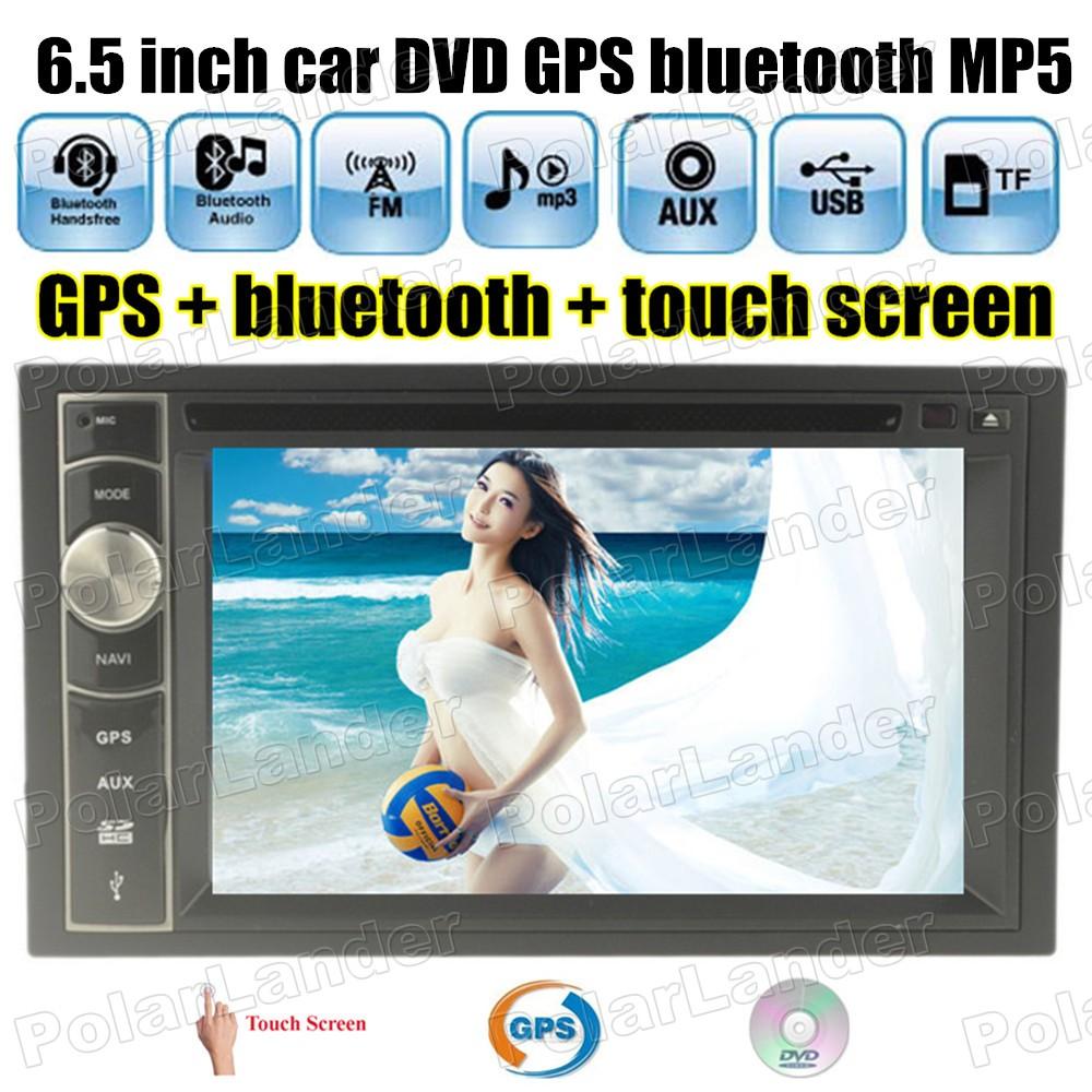 6.5 inch universal 2 din AM FM bluetooth touch USB TF card Car Radio DVD MP5 Player GPS Navigation steering wheel control(China (Mainland))