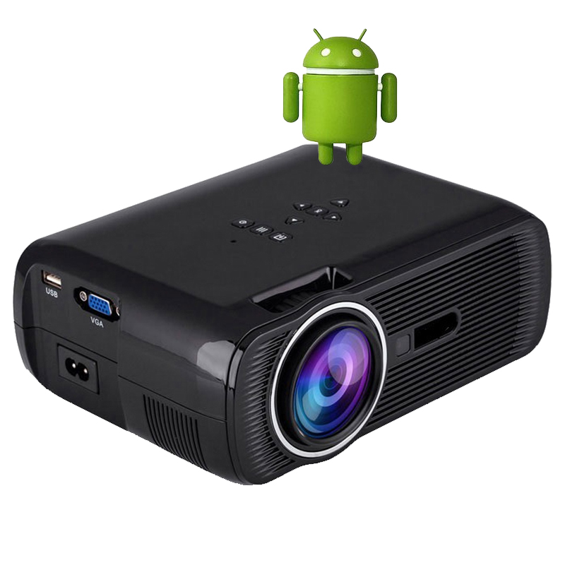 Buy 1800lumens portable led projector android 4 4 bluetooth wifi support for Small bluetooth projector
