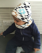 BABY BALL New Style Beautiful Print Baby Hat Cotton Scarf Infant Hats Set Child Caps Scarf Baby Cap(China (Mainland))