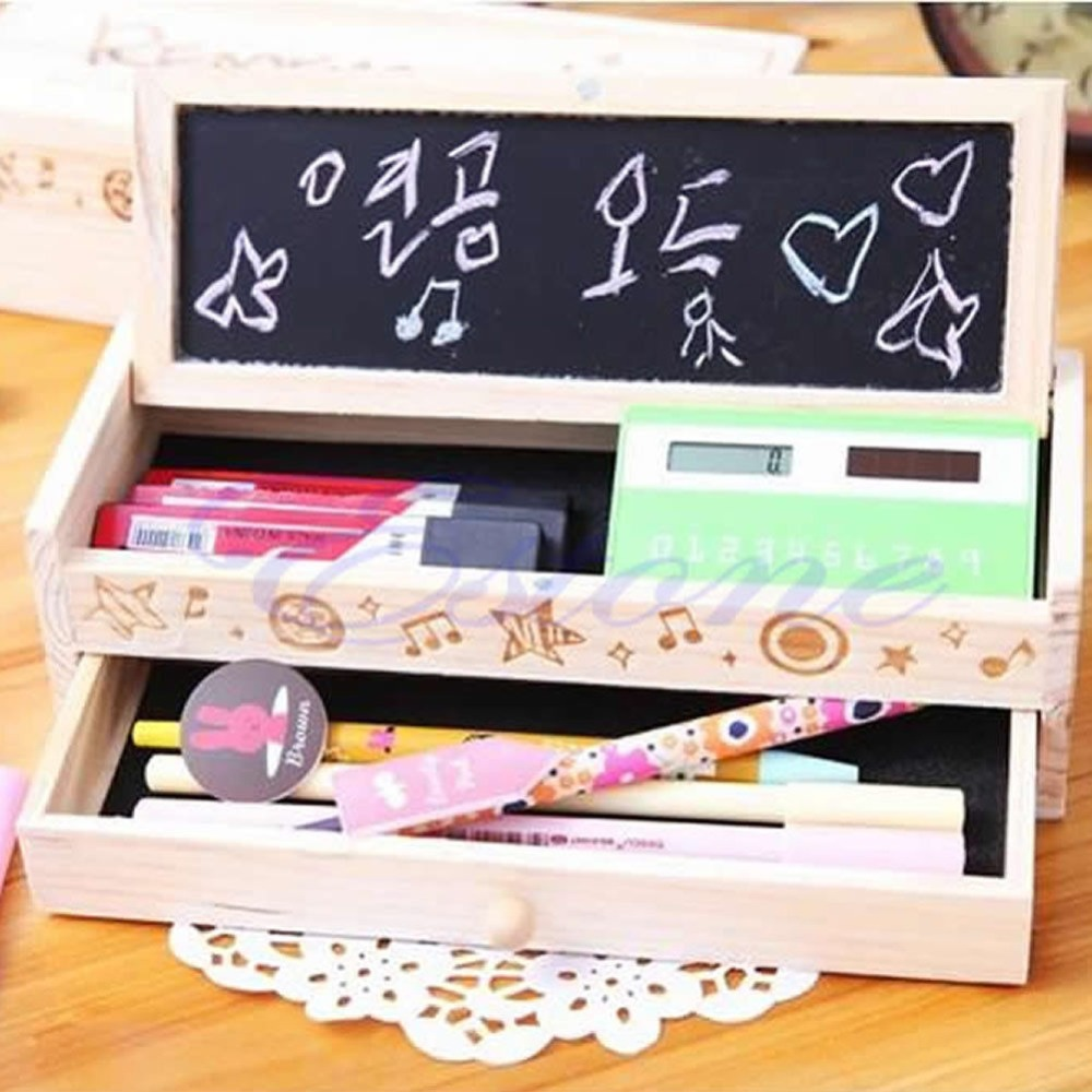 Free shipping Multifunctional Wooden School Pencil Box Pen Case Vintage Stationery Holder New(China (Mainland))