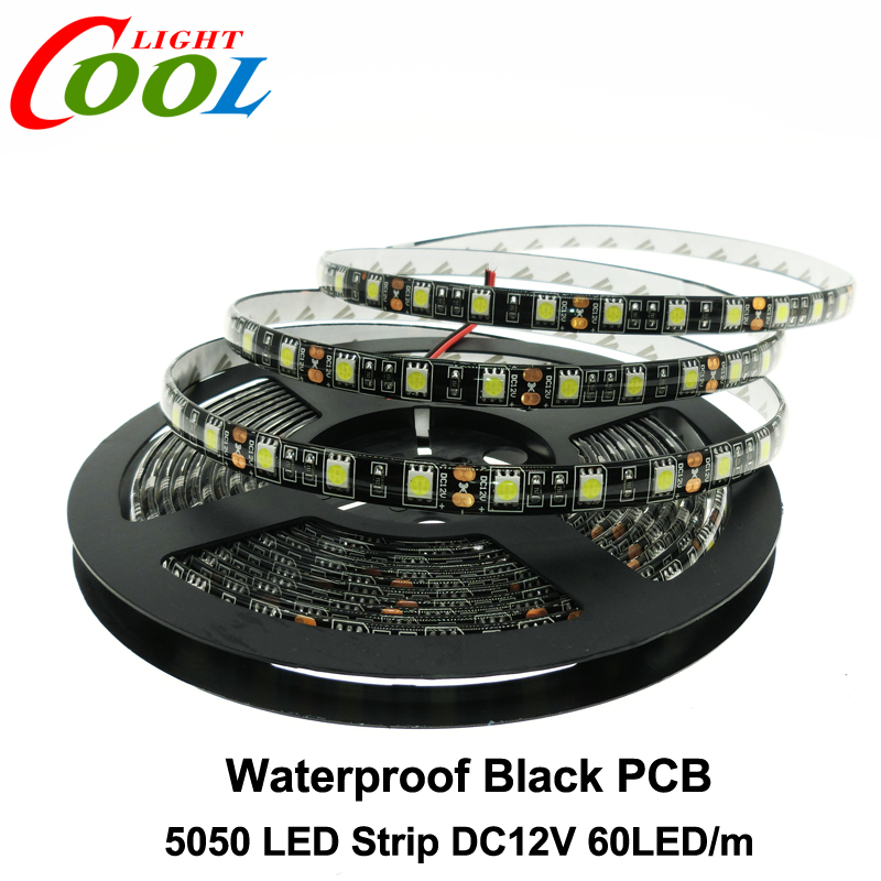 Black PCB LED Strip 5050 DC12V IP65 Waterproof 60LED/m 5m/lot White / Warm White / Red / Green / Blue / RGB 5050 LED Strip.(China (Mainland))