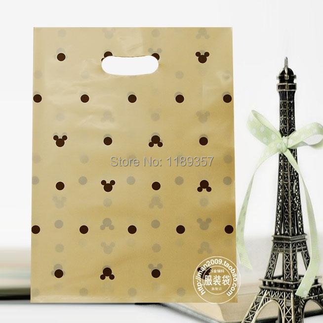 In stock fashion packing bag, (25*35cm) women clothing garment bag ,plastic packing bag ,kid cute tote gift bag dp414(China (Mainland))